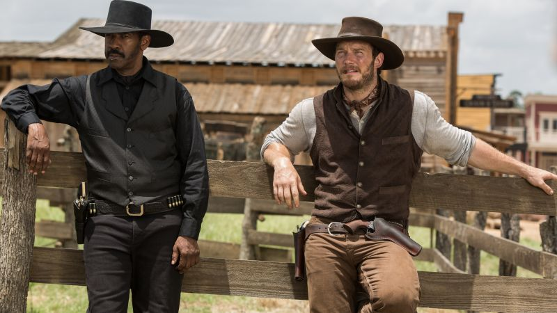 The Magnificent Seven, Denzel Washington, Chris Pratt (horizontal)
