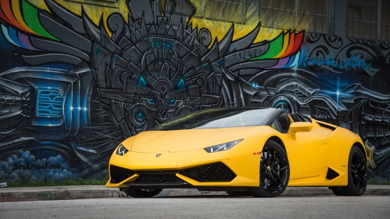 Lamborghini Huracán LP 610-4 Spyder, bodykit, graffiti, yellow (horizontal)