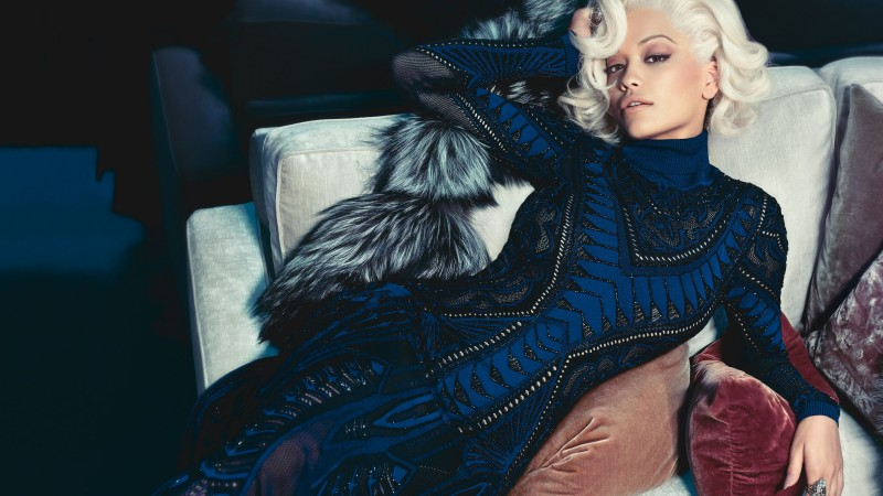 Rita Ora, Rita Sahatciu Ora, Actress, Artists, television star, sofa, dress, jewel, room, interior, blonde (horizontal)
