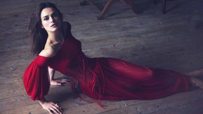Keira Knightley, Actress, brunette, red dress, look, room, wood floor, Pirates of the Caribbean (horizontal)