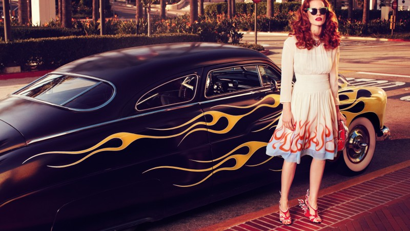 Jessica Chastain, Actress, television star, red hair, hot, dress, red lips, car, glasses, Vogue Italia (horizontal)