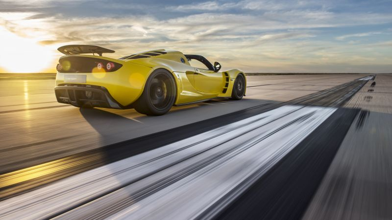 Hennessey Venom GT Spyder, yellow, flag USA, sport car, racing