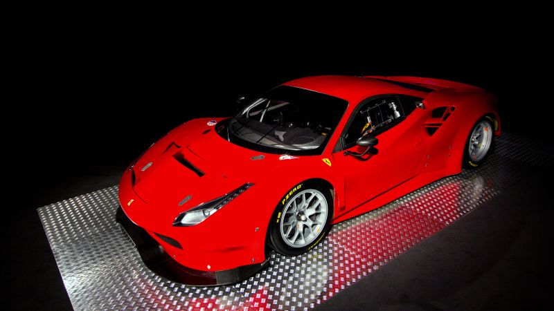 Ferrari 488 GTE, sport car, red (horizontal)