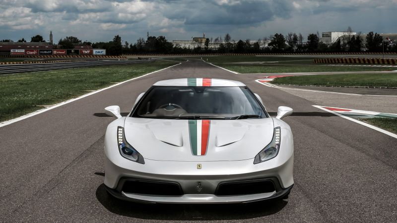 Ferrari 458 MM Speciale, sport car, white (horizontal)