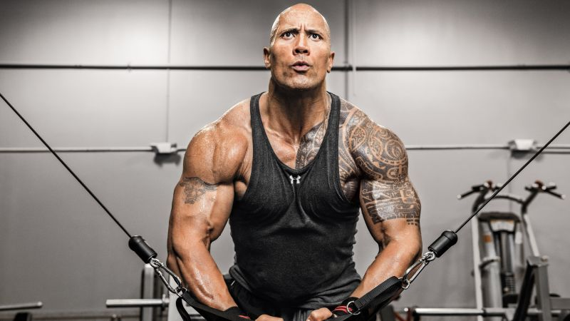 Dwayne Johnson, exercise, athletem, actor (horizontal)