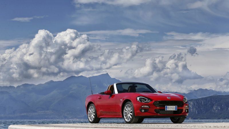 FIAT 124 Spider, roadster, red, snow, clouds (horizontal)