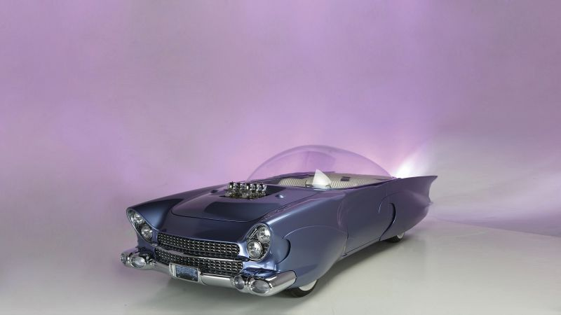 "Ford ""Beatnik"" Bubbletop Custom, 1955, retrofuture, future, blue"