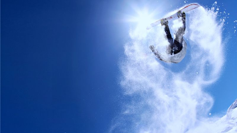 Extreme snowboarding, winter, jump, snow