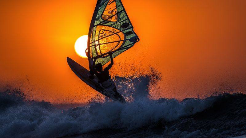 windsurfing, sunset, sky, sea, waves (horizontal)