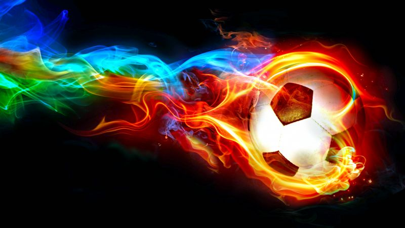 flaming ball, art, soccer, goal (horizontal)