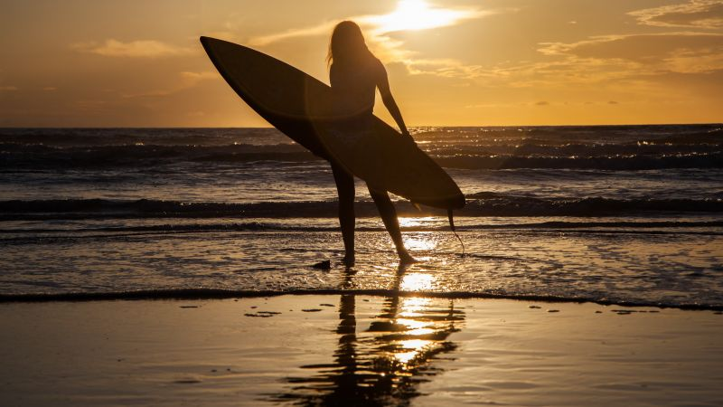 Surfing, girl, sea, wave