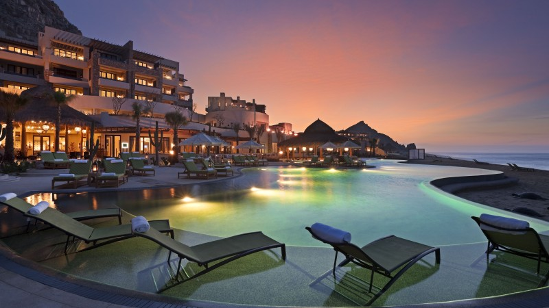 Cabo San Lucas, Mexico, Resort, Hotel, sunset, sunrise, pool, sunbed, light, travel, vacation, booking (horizontal)