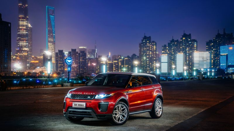 Range Rover Evoque, red, town, night (horizontal)