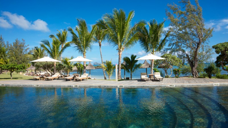 Grand Gaube, Mauritius, Hotel, pool, water, sunbed, palm, sky, blue, sea, ocean, travel, vacation, booking, World's best diving sites (horizontal)