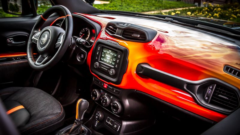 Jeep Renegade Hells Revenge, fire, jeep, red (horizontal)