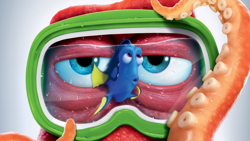 Finding Dory, hank, nemo, fish, octopus, animation
