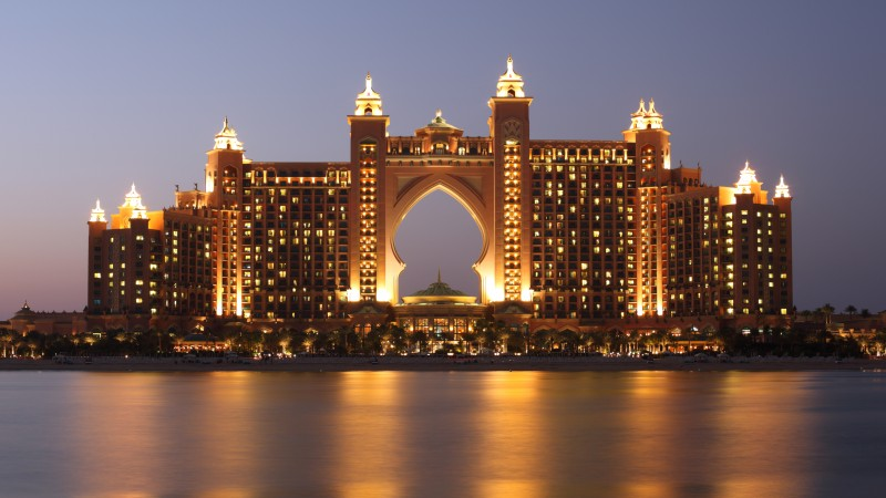 Atlantis, Dubai, Hotel, night, resort, sea, ocean, water, sky, travel, vacation, booking