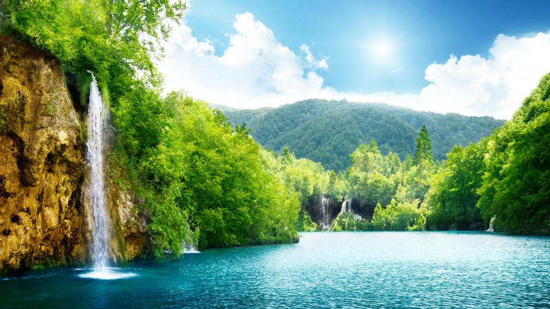 Lake, 4k, HD wallpaper, sea, water, waterfall, rocks, mountain, sun, clouds, sky, forest, nature (horizontal)
