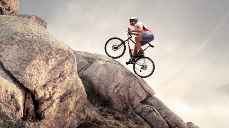 rock, climbing, cycle, extreme (horizontal)