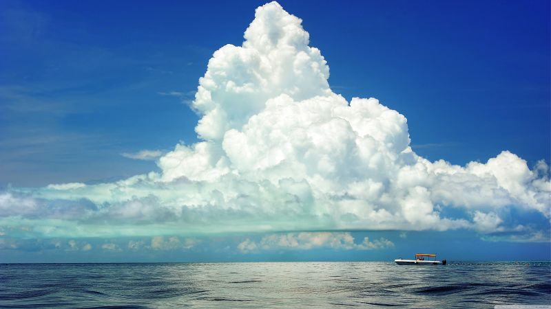 cumulus clouds, 4k, HD wallpaper, sky, sea
