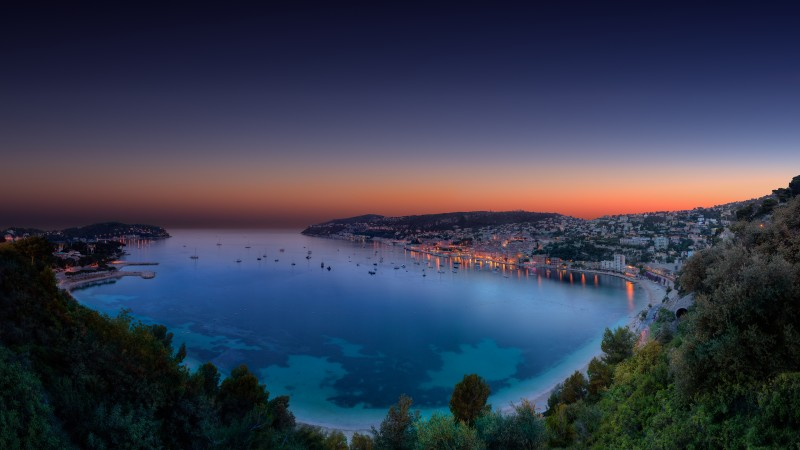 Monako, French Riviera, night, sunset, sea, lake, ocean, forest, sky