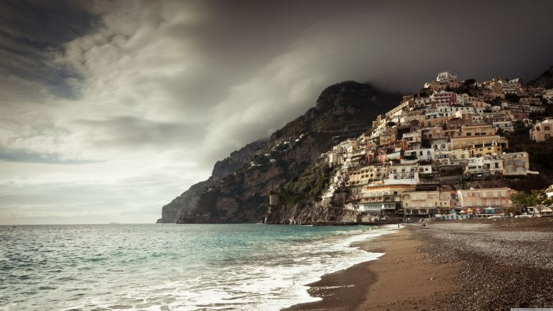 positano coast, 5k, 4k wallpaper, 8k, italy, clouds (horizontal)