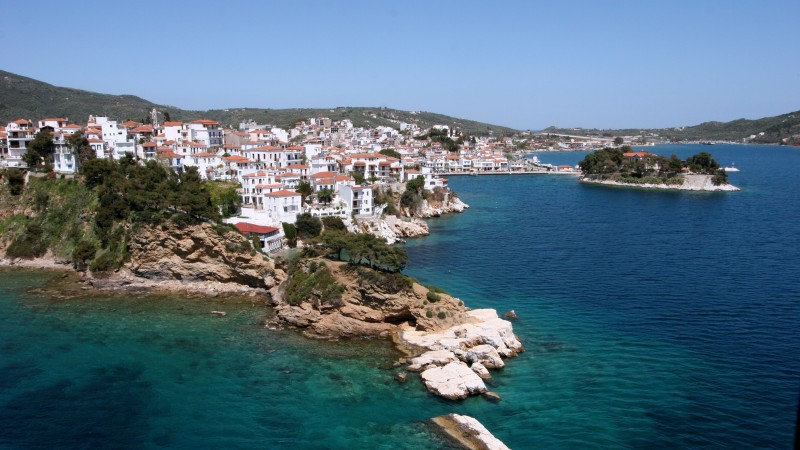 Skiathos, island, Greece, sea, water, ocean, rocks, resort, travel, vacation, booking