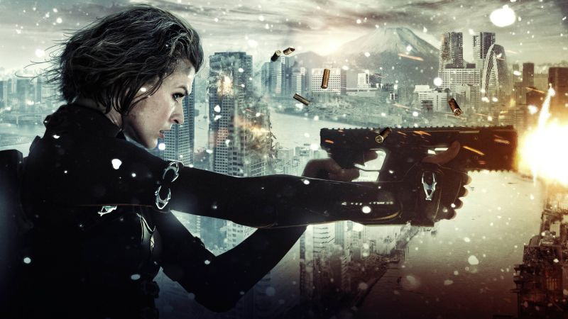 Resident Evil: The Final Chapter, Milla Jovovich, guns, best movies (horizontal)