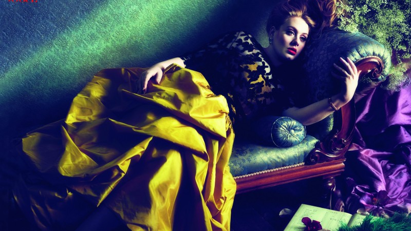 Adele, Adele Laurie Blue Adkins, Artists, singer, songwriter, poet, red hair, sofa, dress, room, interior (horizontal)