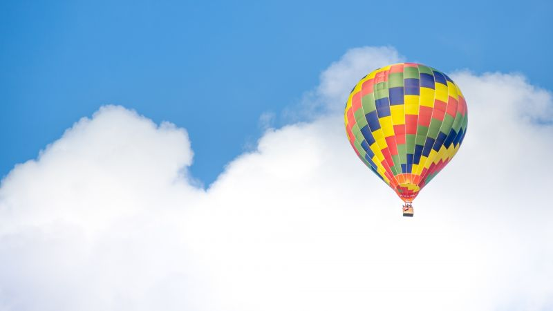 Balloon, 5k, 4k wallpaper, ride, blue, sky, clouds (horizontal)