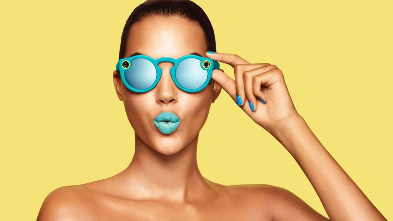 Snapchat glasses, girl, blue lips, google glass, Snapchat (horizontal)