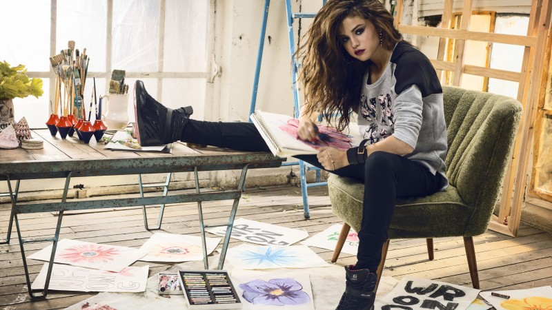 Selena Gomez, Selena Marie Gomez, actress, TV star, singer, composer, songwriter, Artists, Music, brunette, sitting, shoes