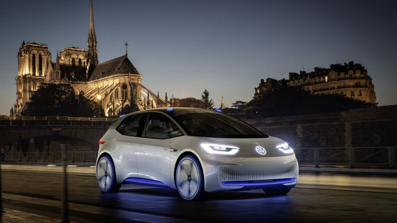 Volkswagen I.D., paris auto show 2016, electric cars, white