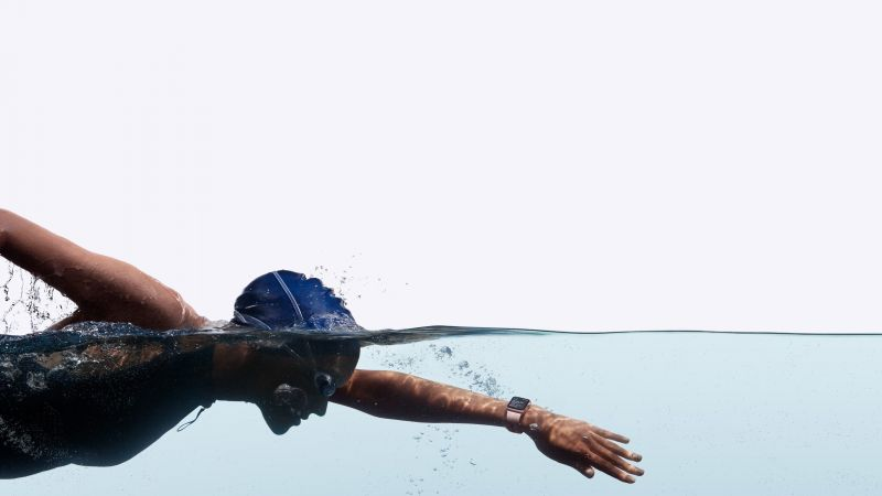Apple Watch Series 2, smart watch, swimmer, iWatch, wallpaper, Apple, display, silver, Real Futuristic Gadgets (horizontal)
