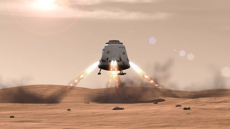 SpaceX, ship, red dragon, mars (horizontal)