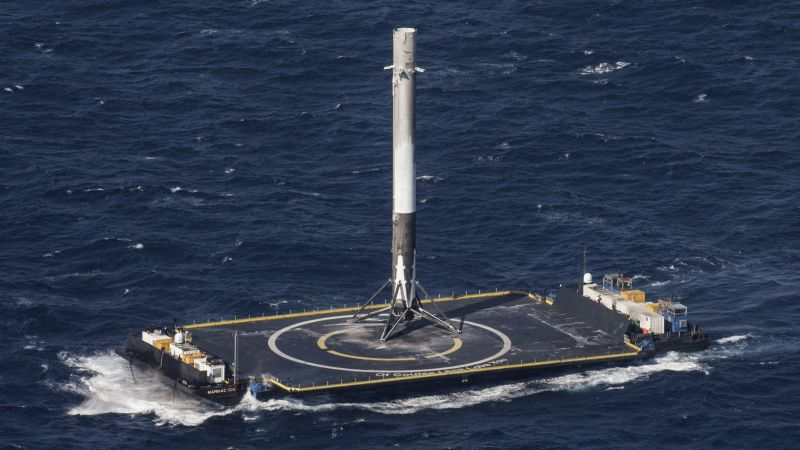 SpaceX, ship, sea, platform, rocket
