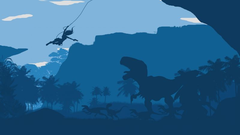 tomb raider, forest, dinosaur, blue, flat