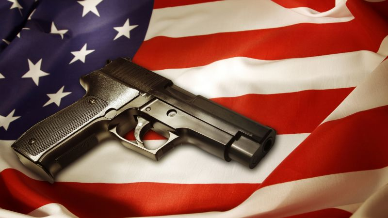 Gun, pistol, flag USA (horizontal)