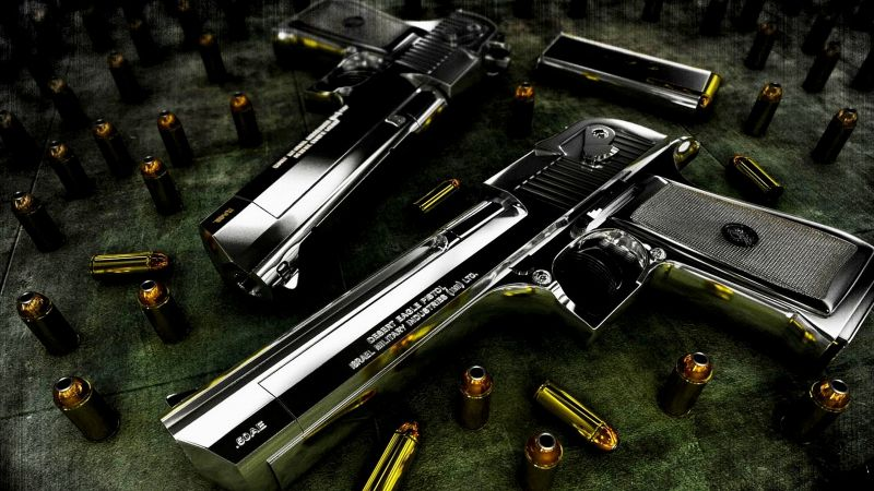 Desert Eagle, pistol, bullets (horizontal)