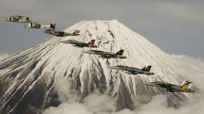 fighter aircraft, Mount, Fuji, U.S. Air Force (horizontal)