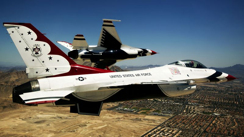 Thunderbird f-16, fighter aircraft, U.S. Airforce