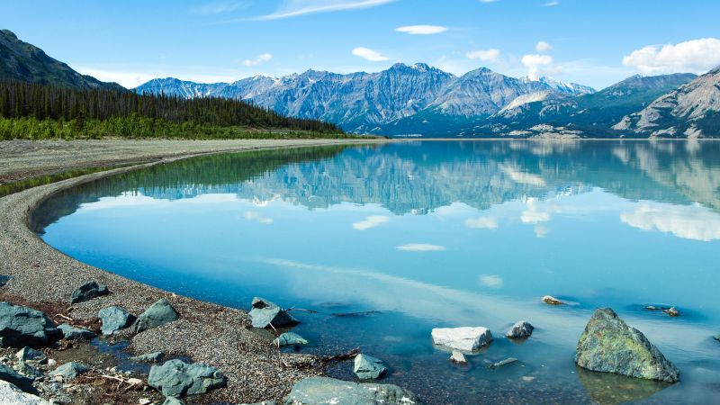 Canada, 5k, 4k wallpaper, Kluane Lake, Yukon, Landscape, Mountain (horizontal)