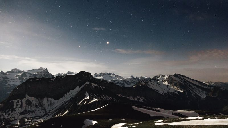 mountains, snow, stars