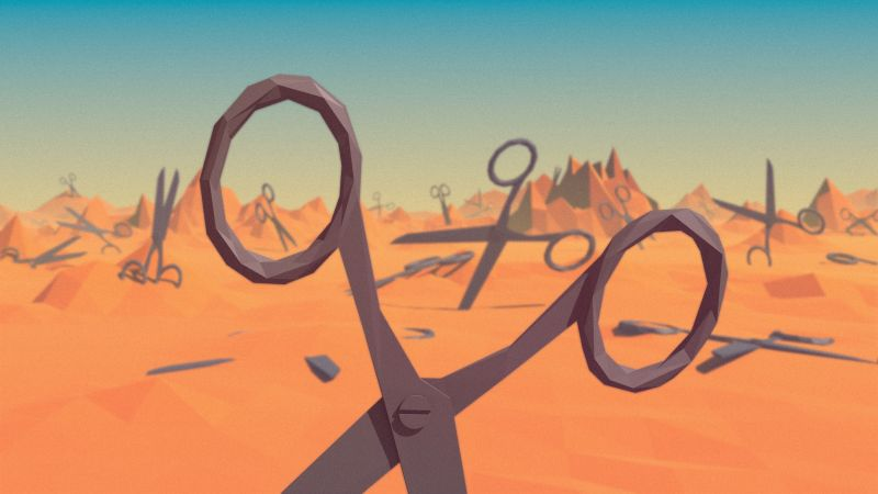 polygon, landscape, nature, scissors, low poly, 3D
