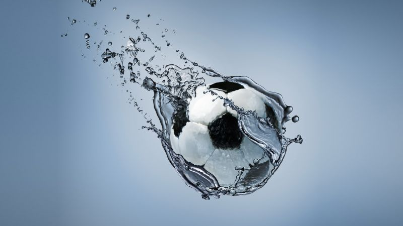 ball, football, water, splash (horizontal)