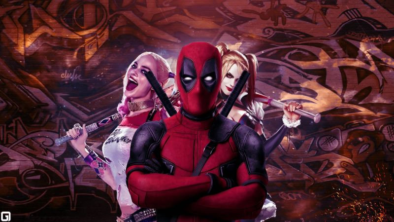 Deadpool, Harley quinn, Suicide Squad, art, Margot Robbie, Best Movies of 2016 (horizontal)