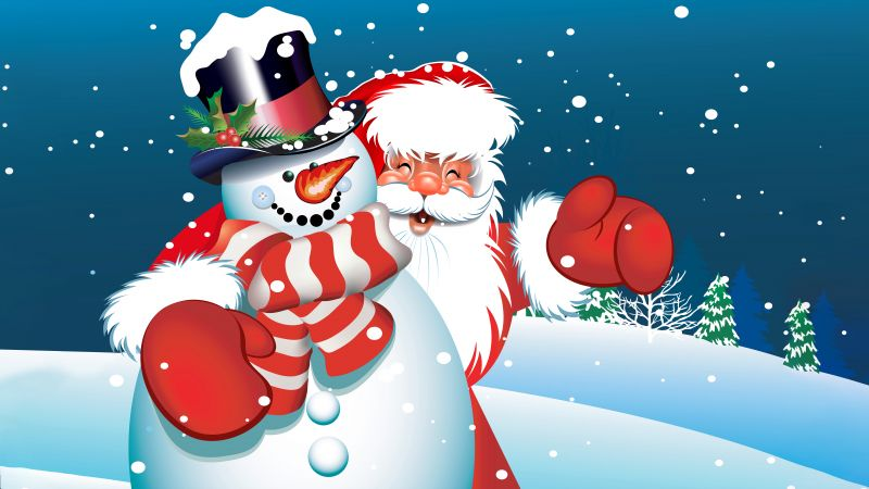 Christmas, New Year, Santa Claus, snowman (horizontal)