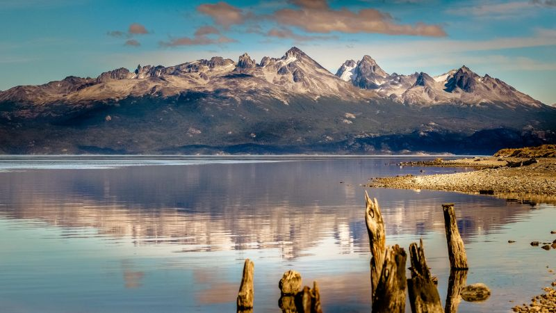 mountain, 4k, HD wallpaper, lake, sea, Ushuaia, Argentina (horizontal)