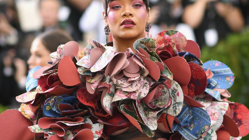 Rihanna, Met Gala 2017, dress, red carpet (horizontal)