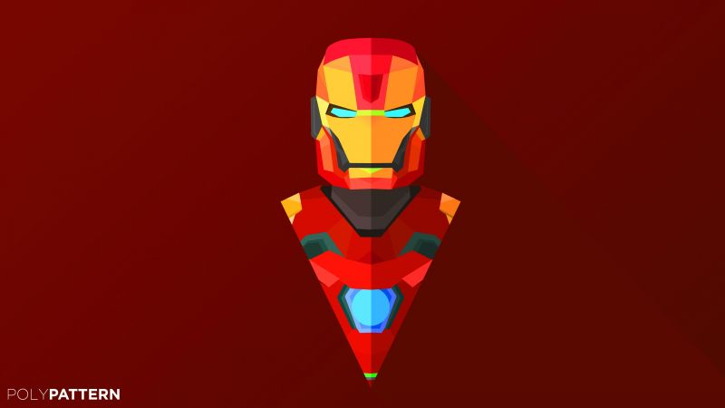 Iron Man, abstract, low poly, minimalism, 4k, 5k, iphone wallpaper (horizontal)